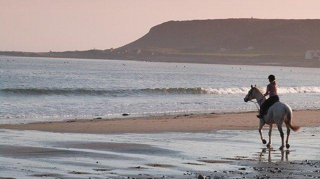 zena na koni na plazi