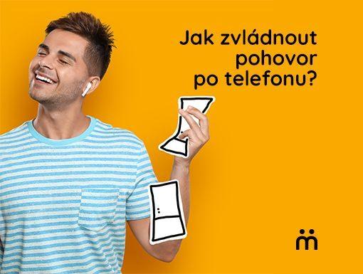 muz se sluchatkem v uchu s textem jak zvladnout pohovor po telefonu